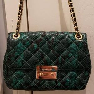 MK Sloan Palmetto Green & Black Snake Bag